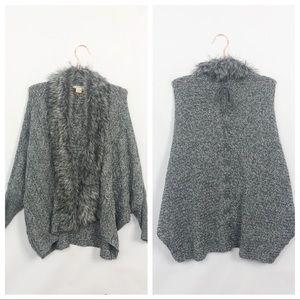 Ariat Fur Cardigan Sweater Gray  Like New XL